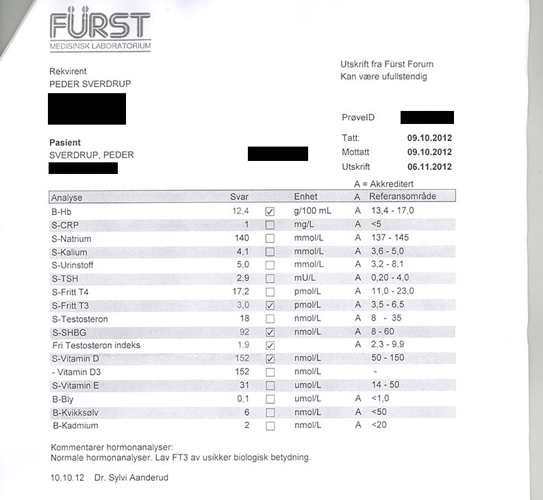 Blodprøve 2012-10-09 Fürst Laboratorium
