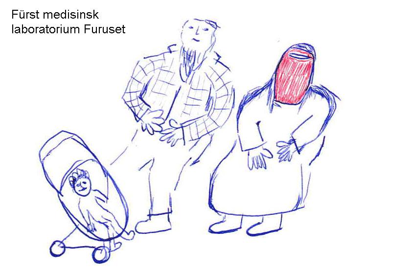 Muslimsk kvinne med anstand, telt og ansiktsmaske. For å kunne ta en prøve på Furst medisinsk laboratorium på Furuset.
