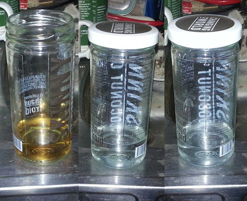 Urinterapi eksempel 1. Til høyre er 2. utblanding.