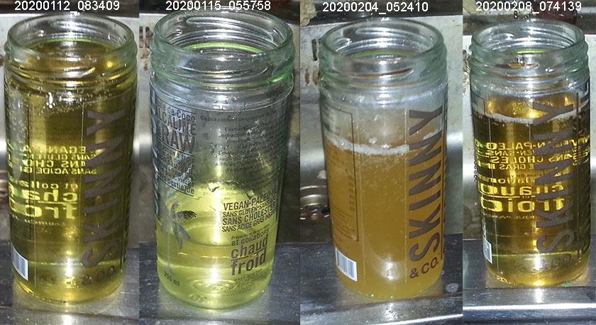 Forskjellig farge på urinen på forskjellige dager.