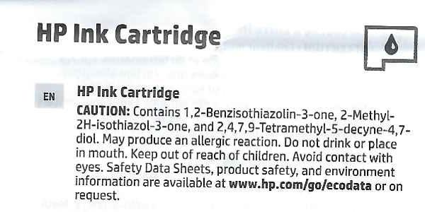 Printerblekk kjemikalier HP