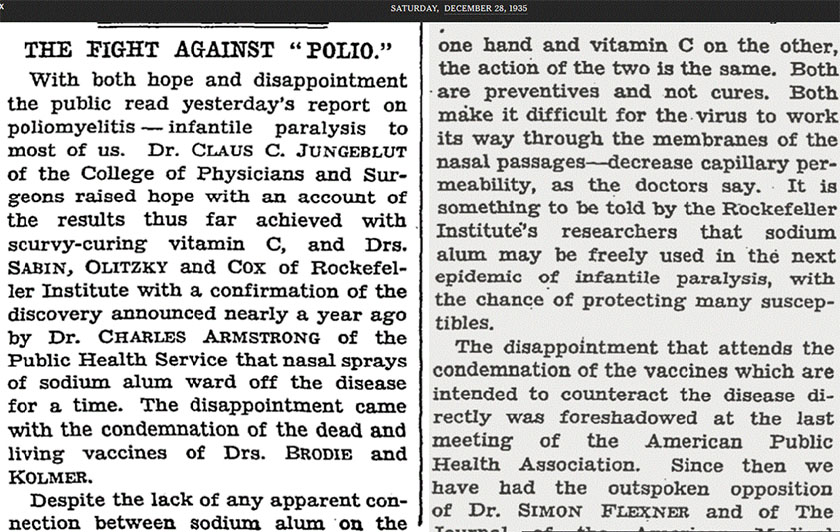 Claus Jungeblot, polio og vitamin C. New York Times 28. desember 1935. Utklippet er lovlig benyttet under Fair Use doktrinen.