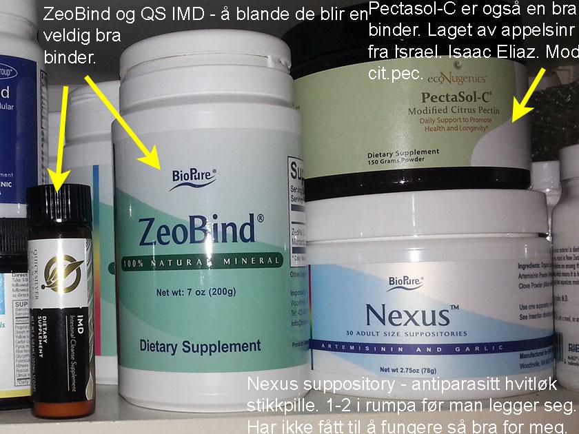 ZeoBind blandet med et halvt glass IMD blir en veldig bra binder. Binder til mange toksiner og ikke så mye til næringsstoffer. Pectasol-C er en annen bra binder.