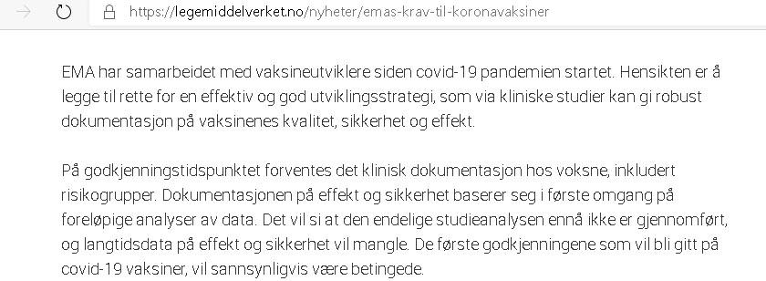 Comirnaty EMA og Legemiddelverket godkjennelse, tekst01.