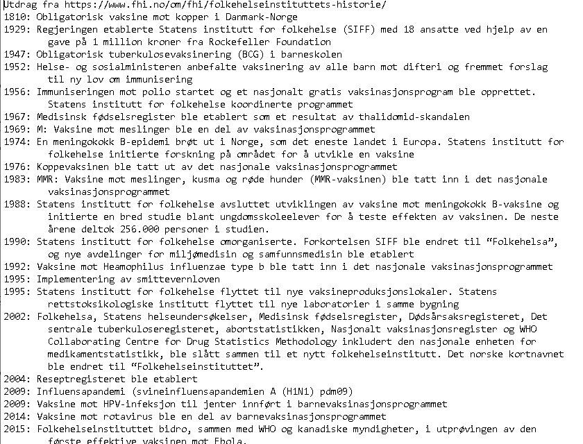 norsk-vaksinehistorie-03-folkehelseinstituttet-fhi-historie-hovedpunkter