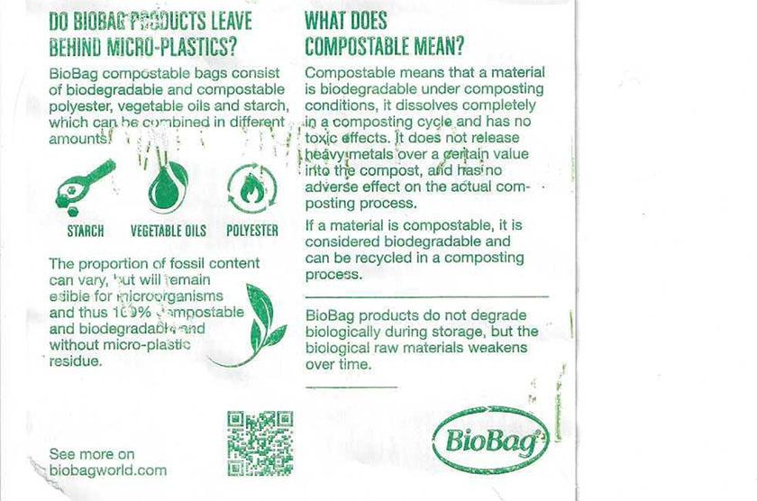 BioBag merking av rull, bakside